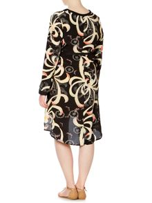 Anna Scholz Plus Size Long sleeve silk belted dress