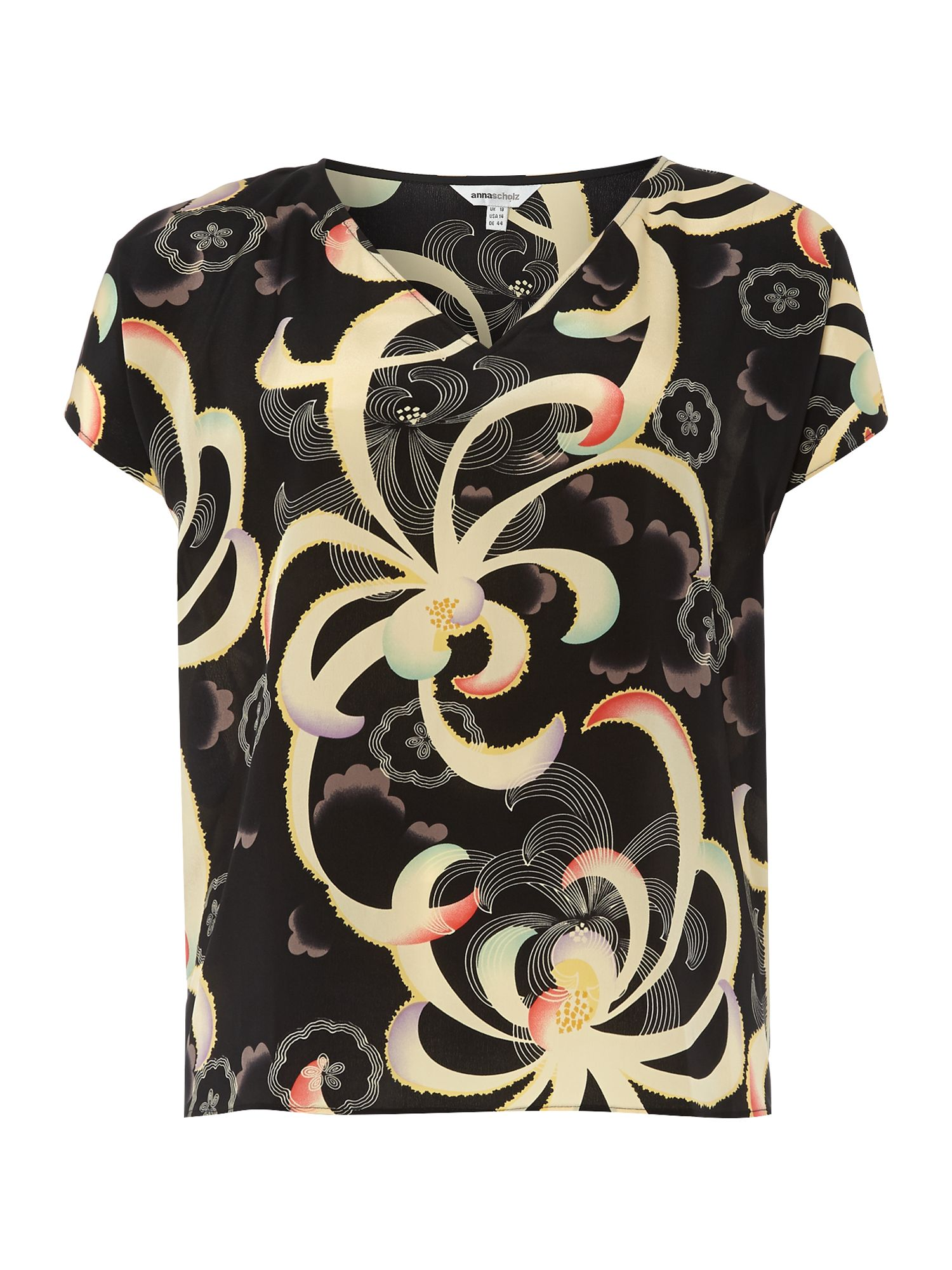 Short sleeve print v neck top