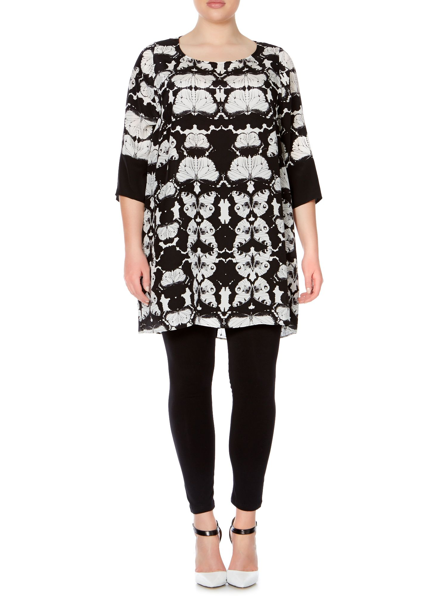 3/4 sleeve silk butterfly print tunic top