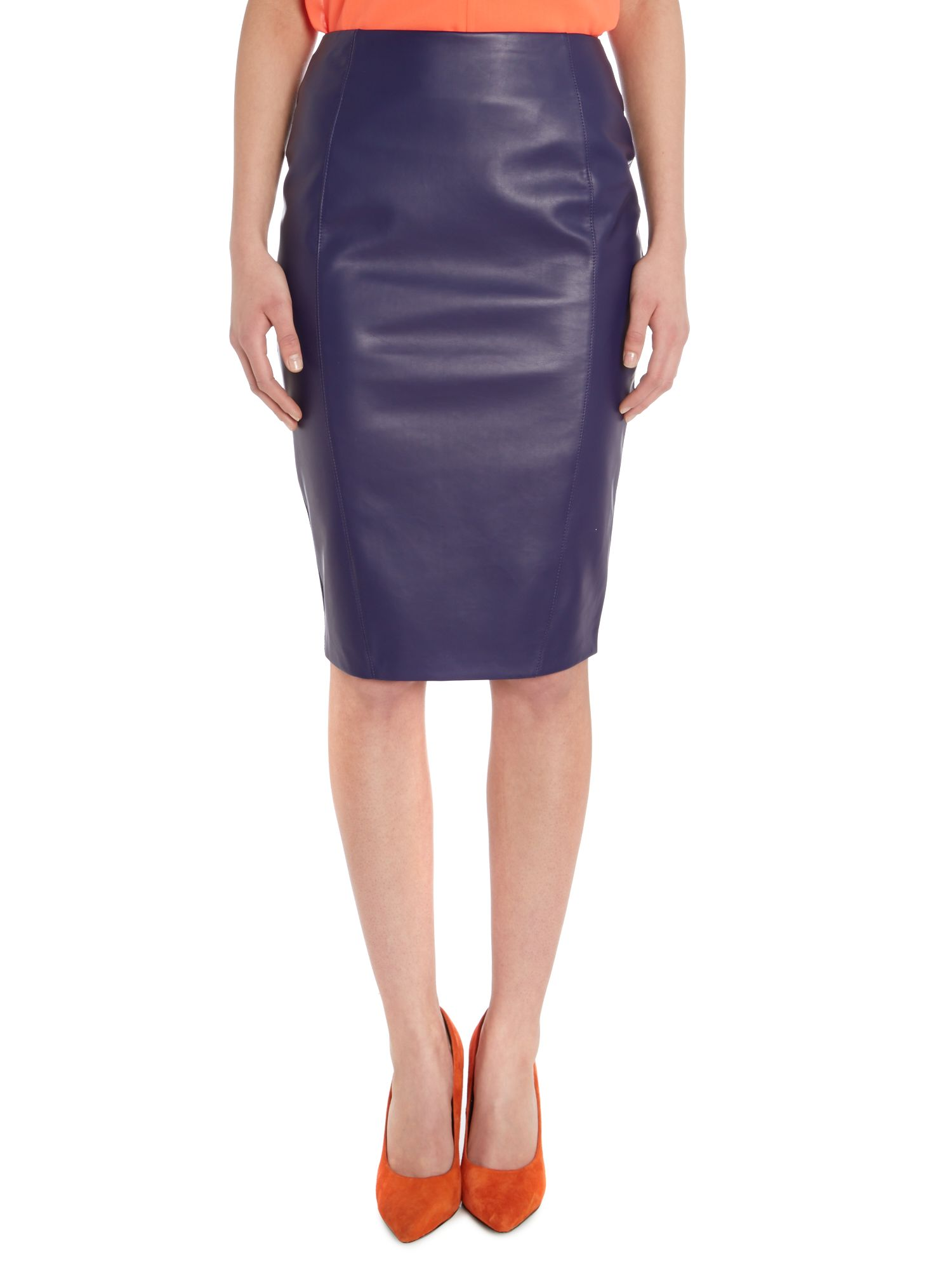Kardashian Kollection PU zip back pencil skirt