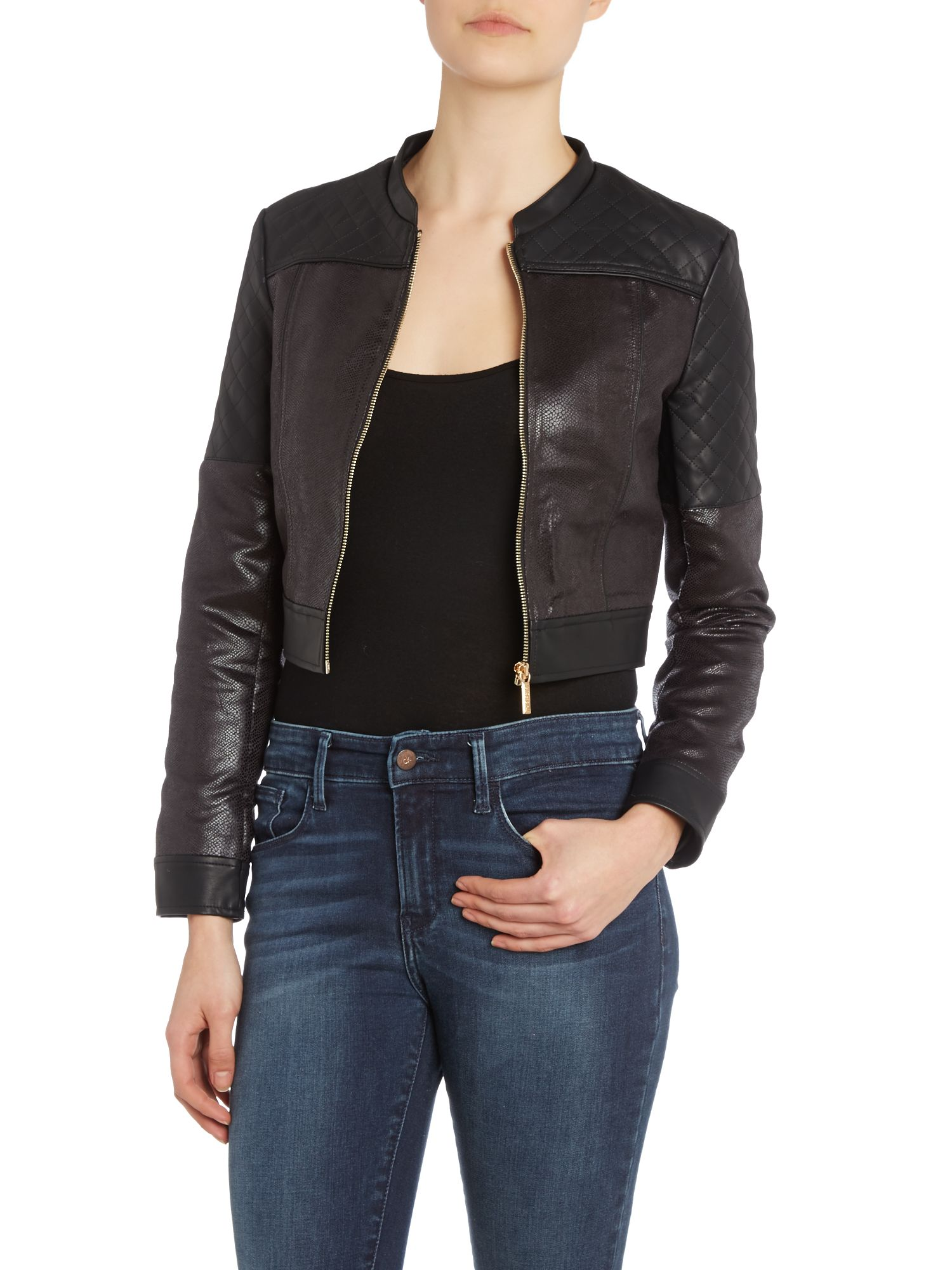 Kardashian Kollection quilted biker jacket