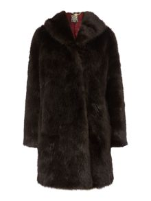 Plain portobello faux fur coat