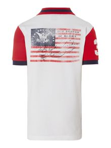 Boys pieced back flag polo shirt