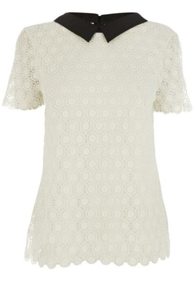 Oasis Collared crochet lace t-shirt