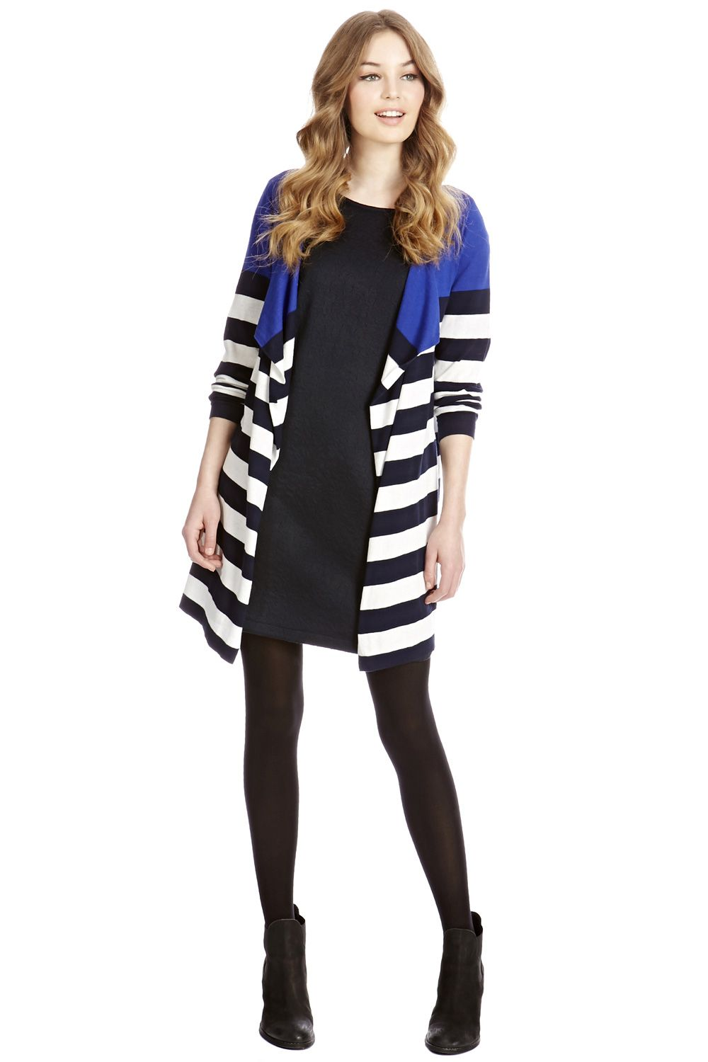 Colour block stripe drape cardigan