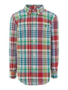Boys multi check shirt with small logo