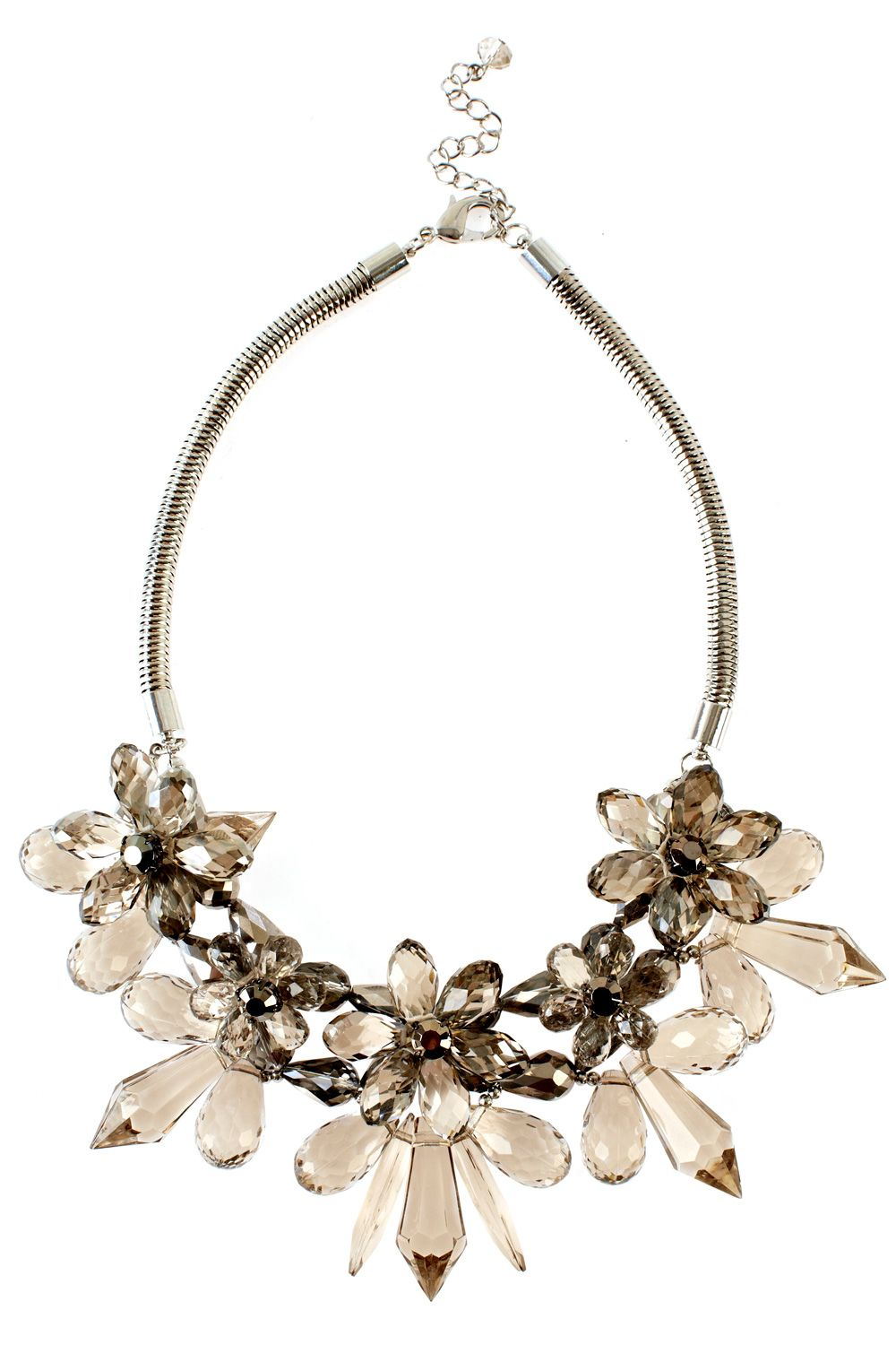 Grey Floral Necklace