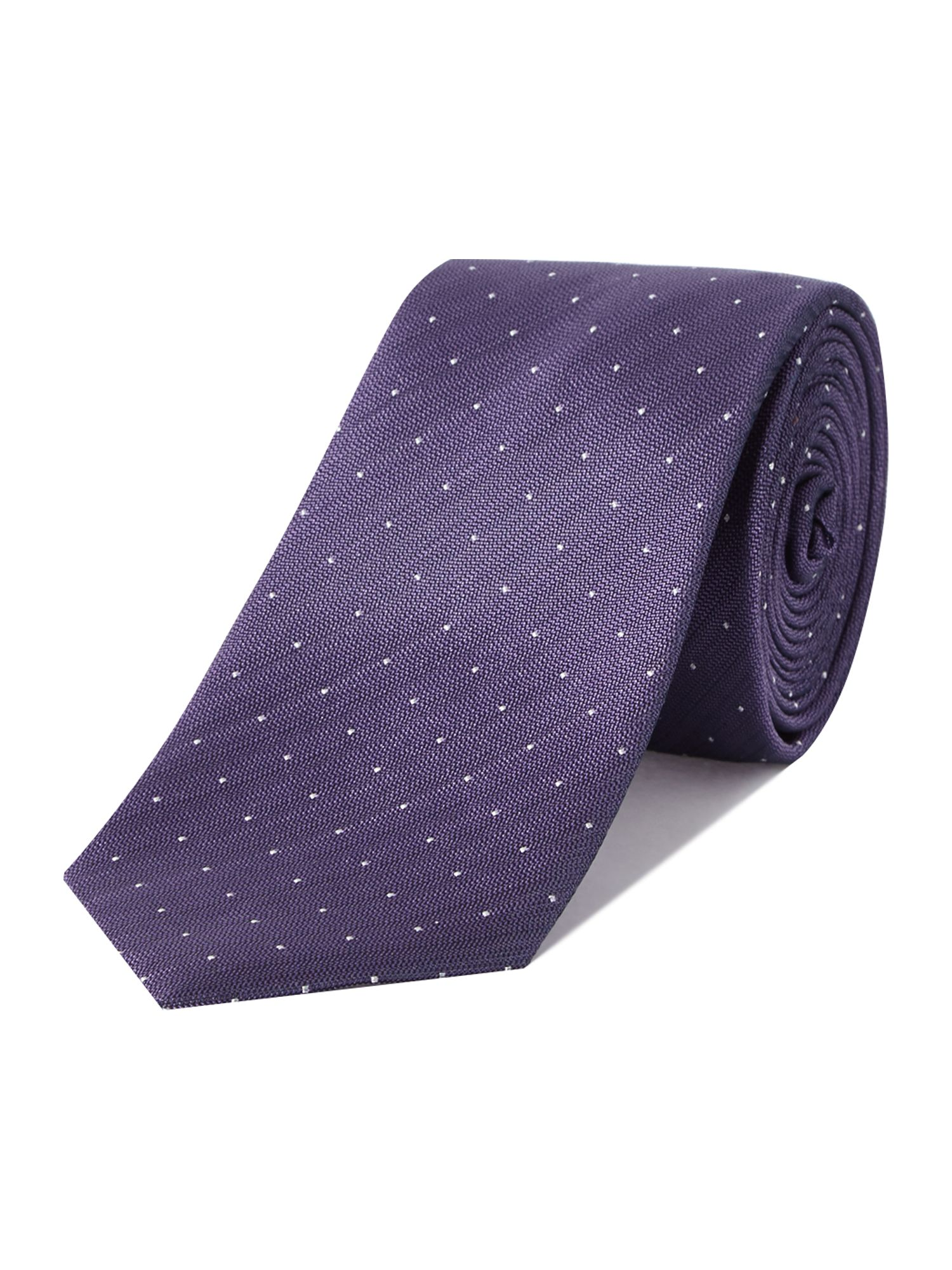 Plotter textured small dots silk tie