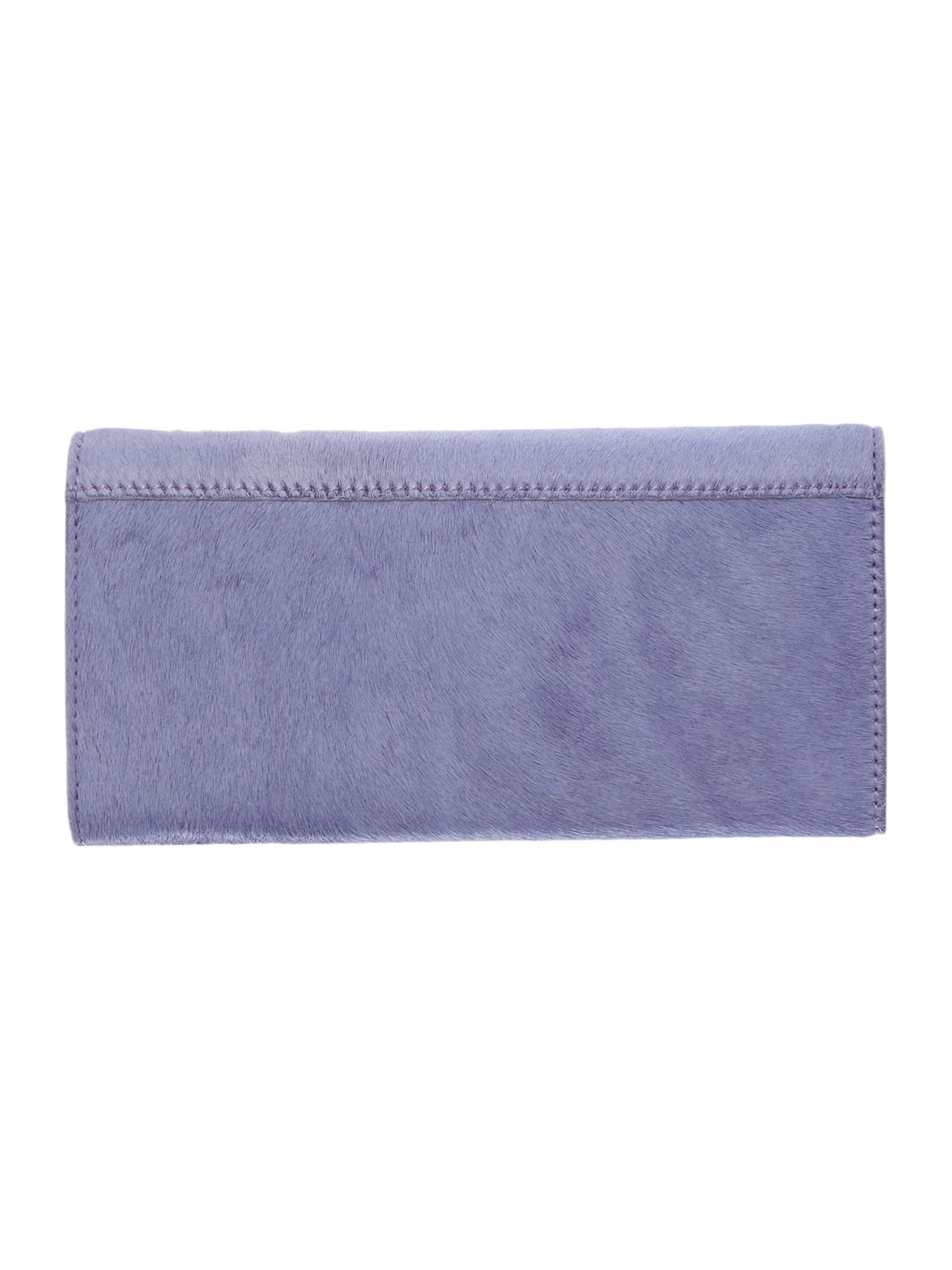Purple large pony hair flapover purse