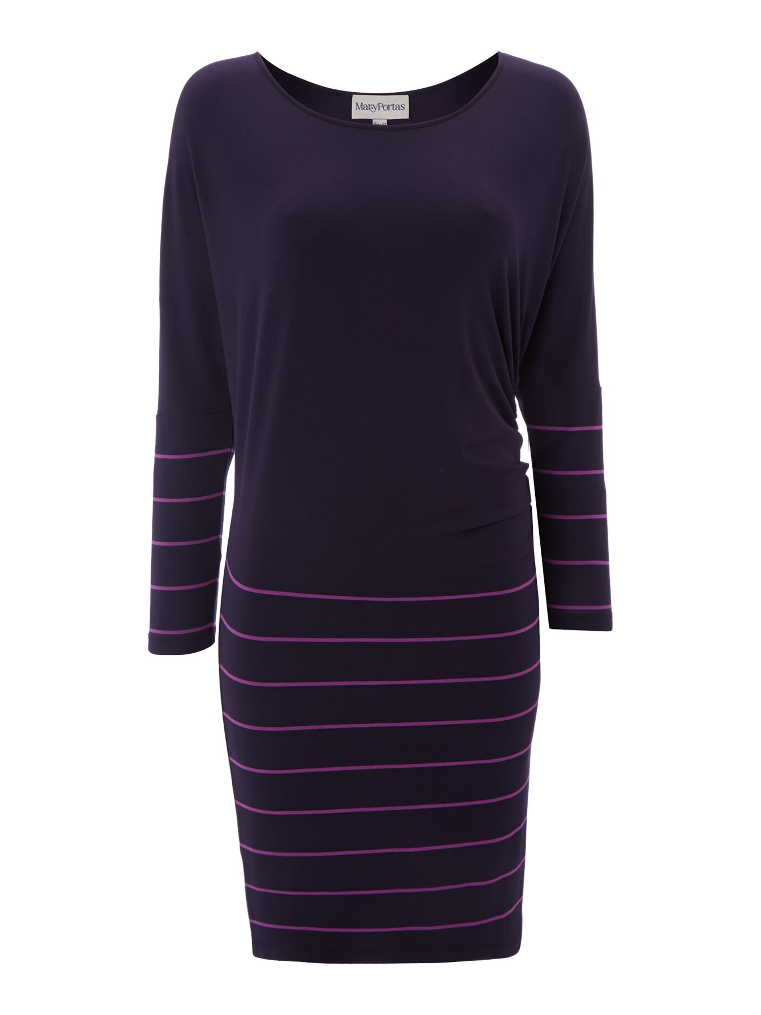 Asymmetric jersey stripe dress