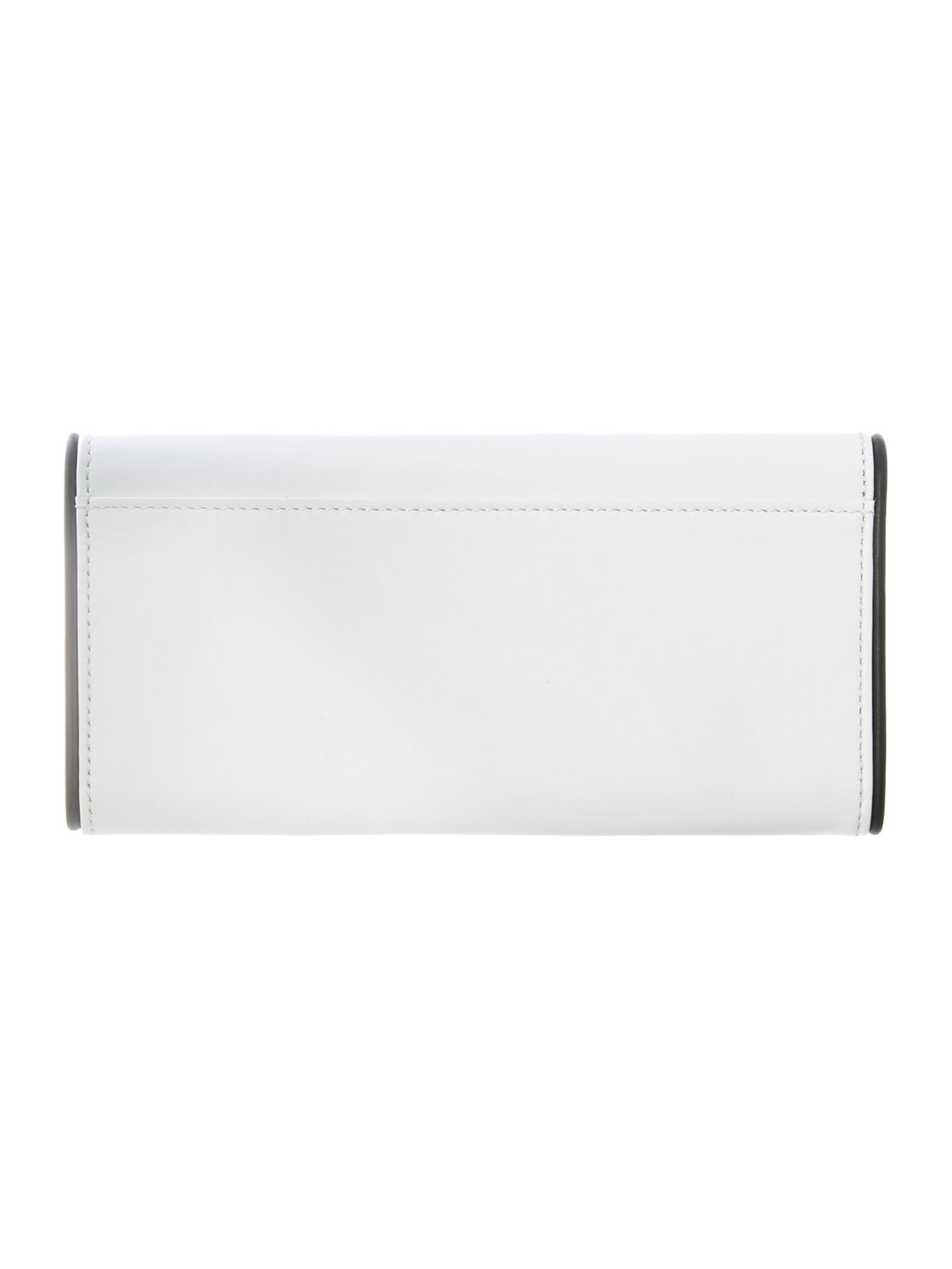 White and black flapover purse