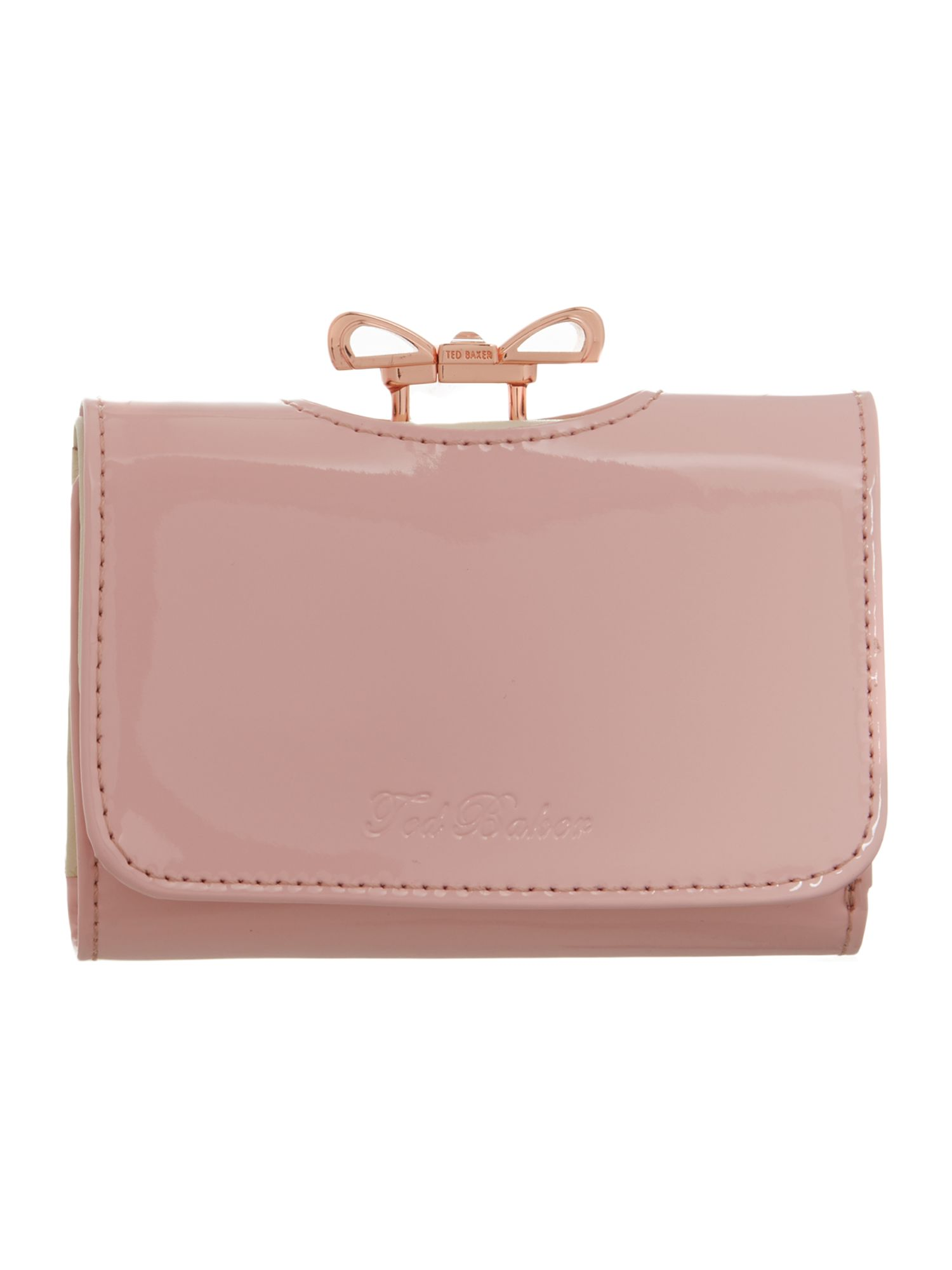 Pink small colourblock bow flapover purse