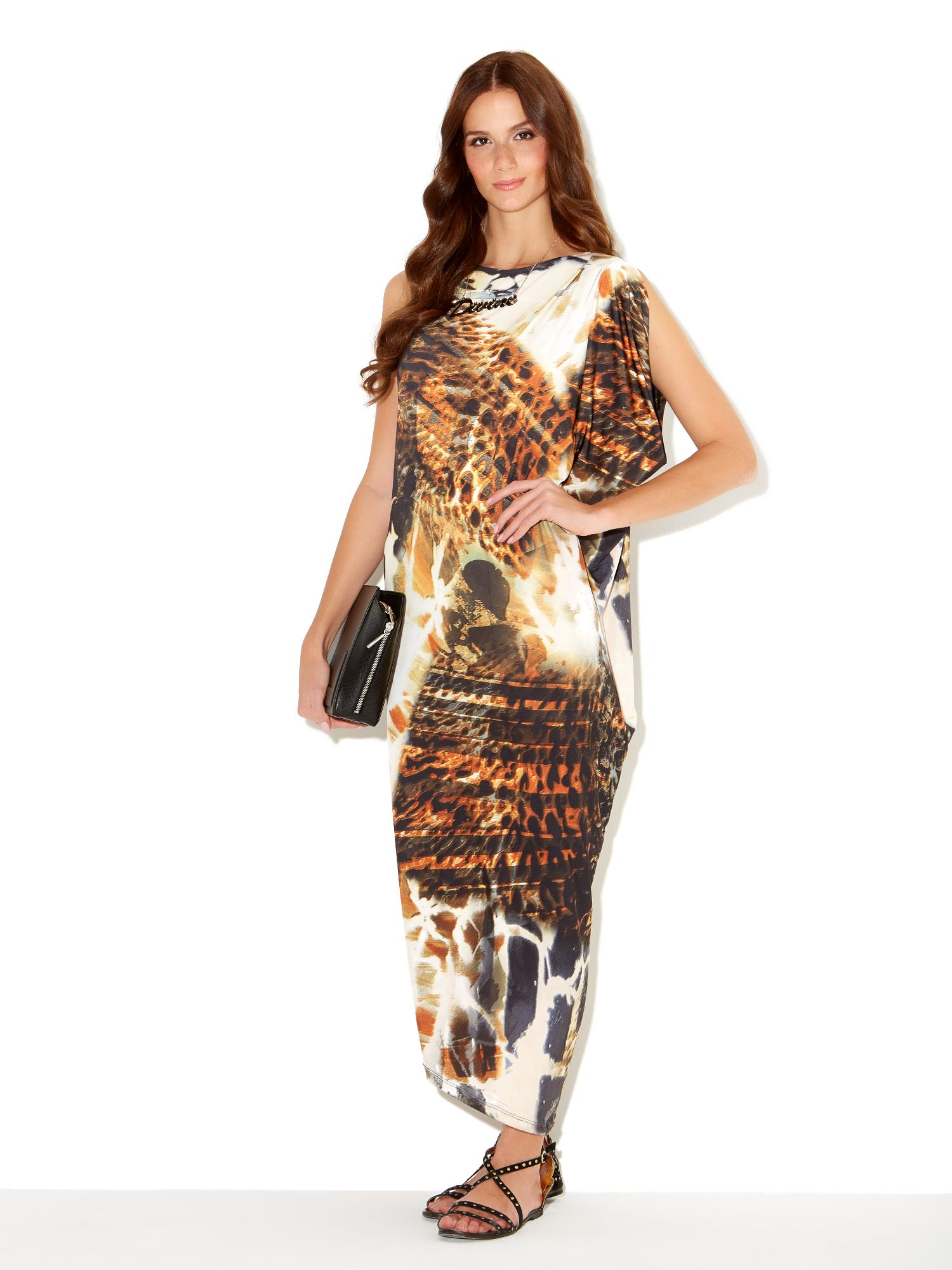 Animal asymmetric maxi dress