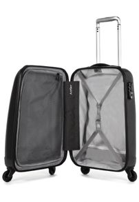 Liquis embossed black 4 wheel hard cabin suitcase
