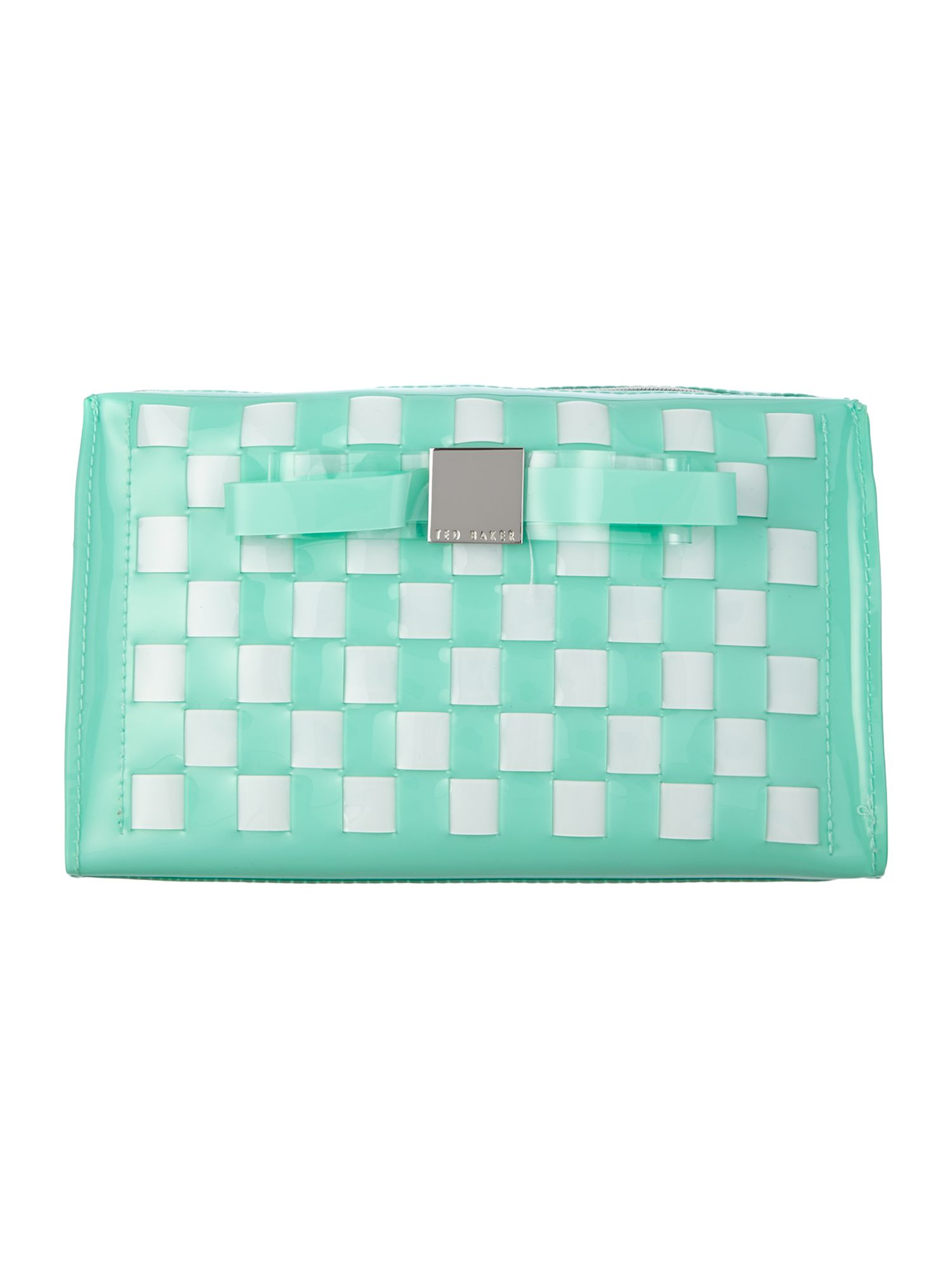 Green large bow weave cosmetic bag