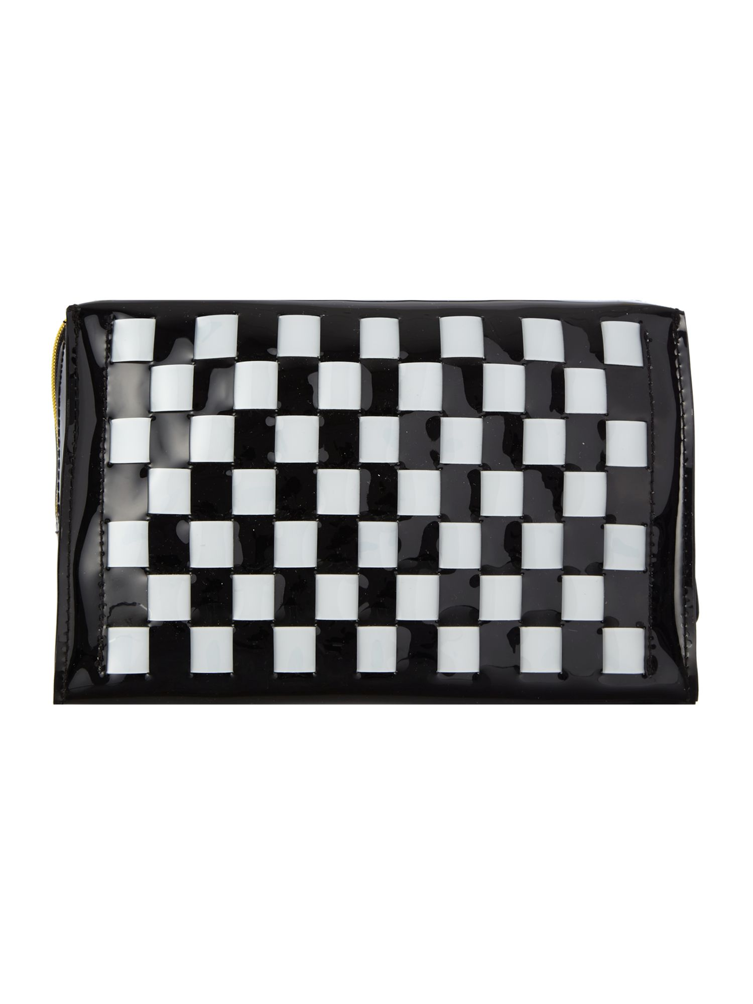 Black large bow weave cosmetic bag