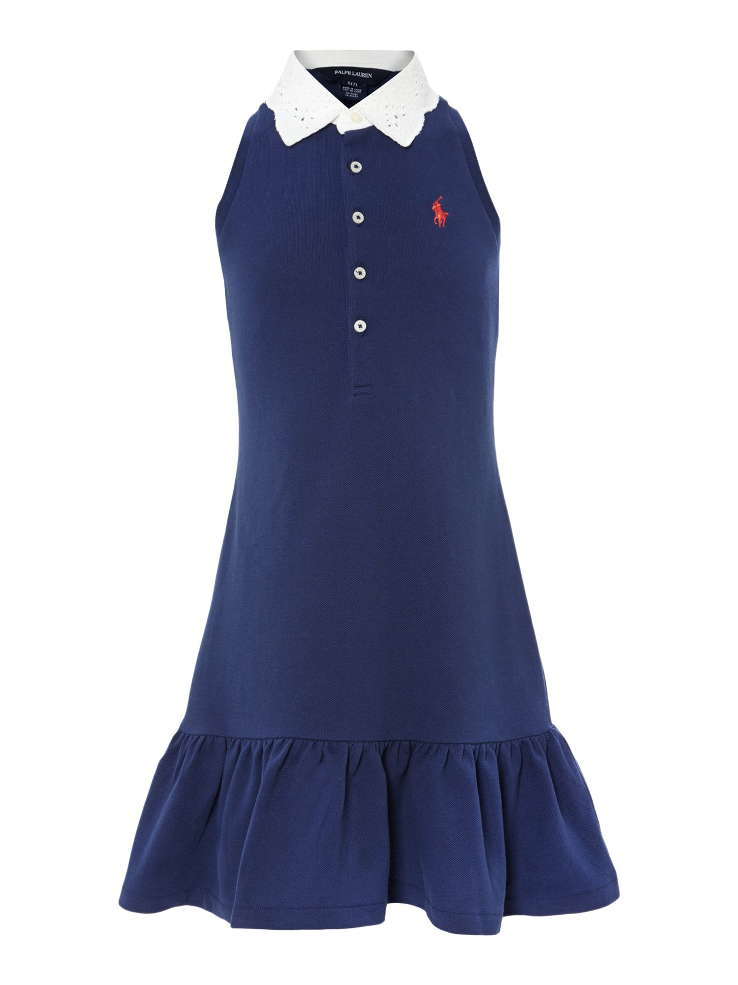 Girls broderie collar dress