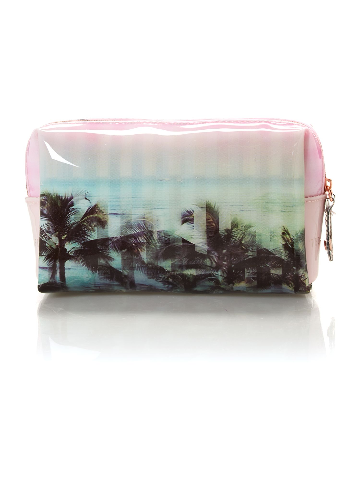 Pink mini palm print bow cosmetic bag