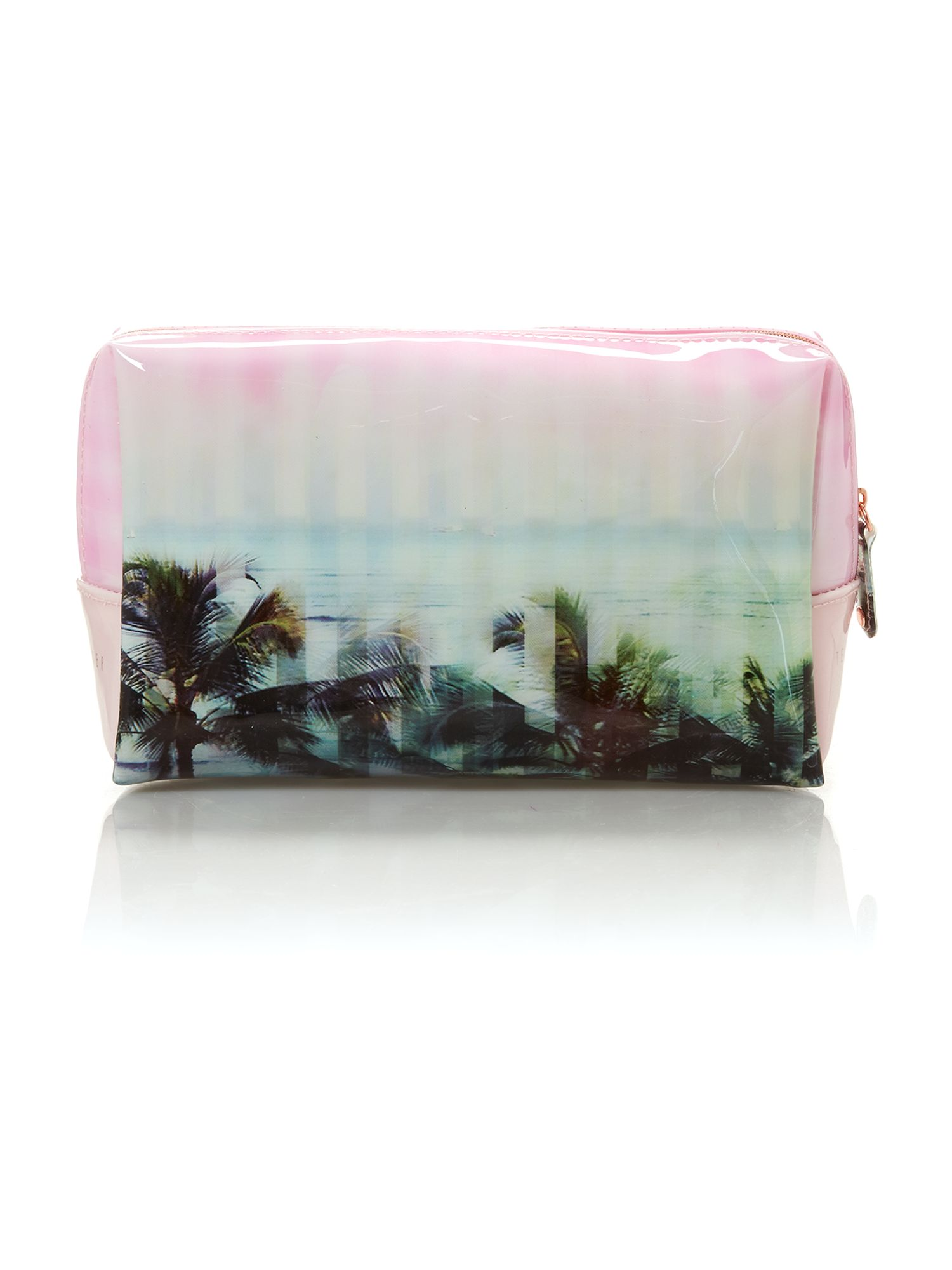 Pink large palm print cosmetic bag
