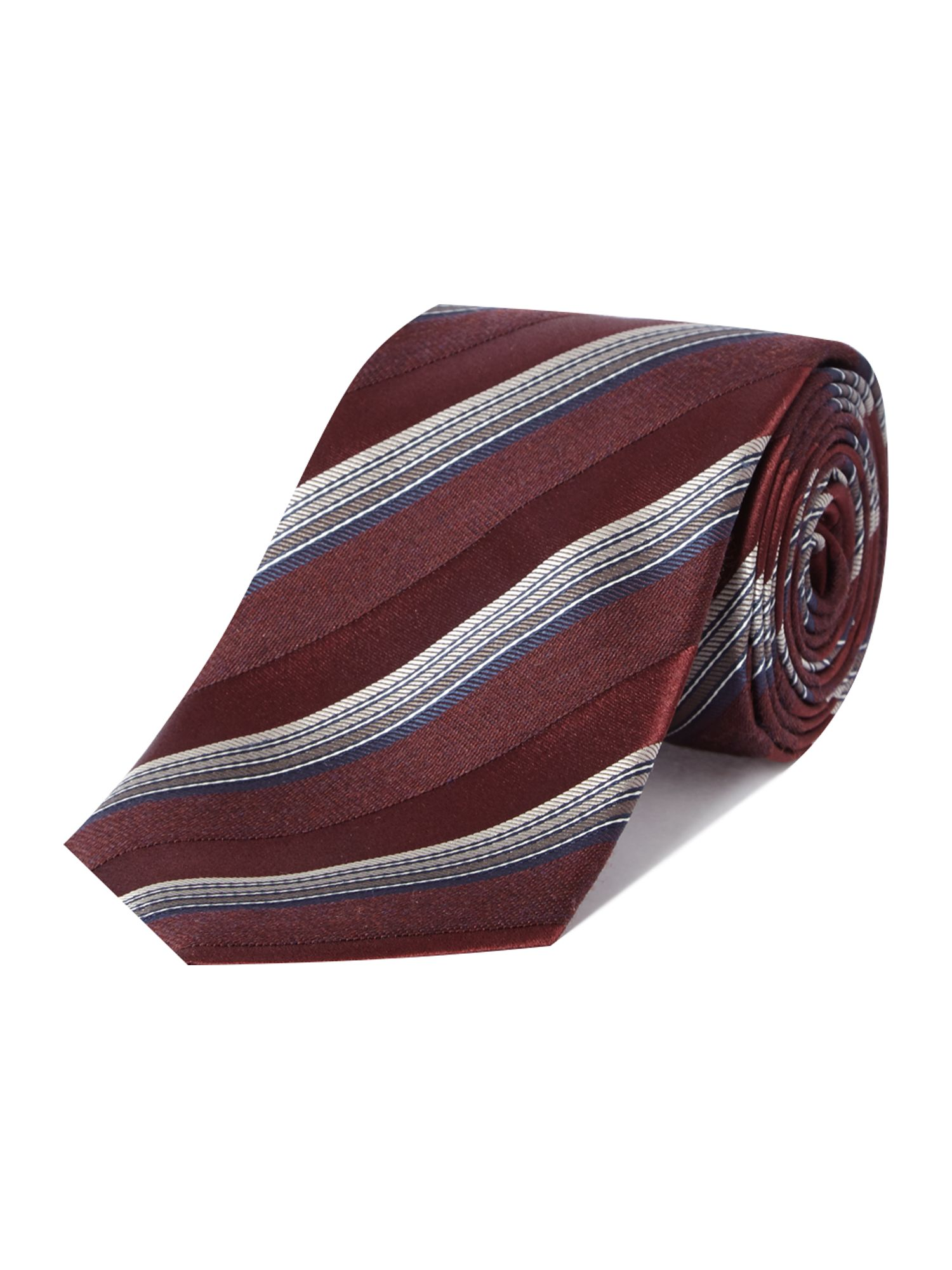 Piedmont multistripe textured silk and wool tie