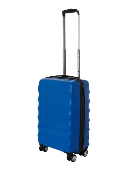 Antler Juno 4 wheel panel blue hard cabin suitcase
