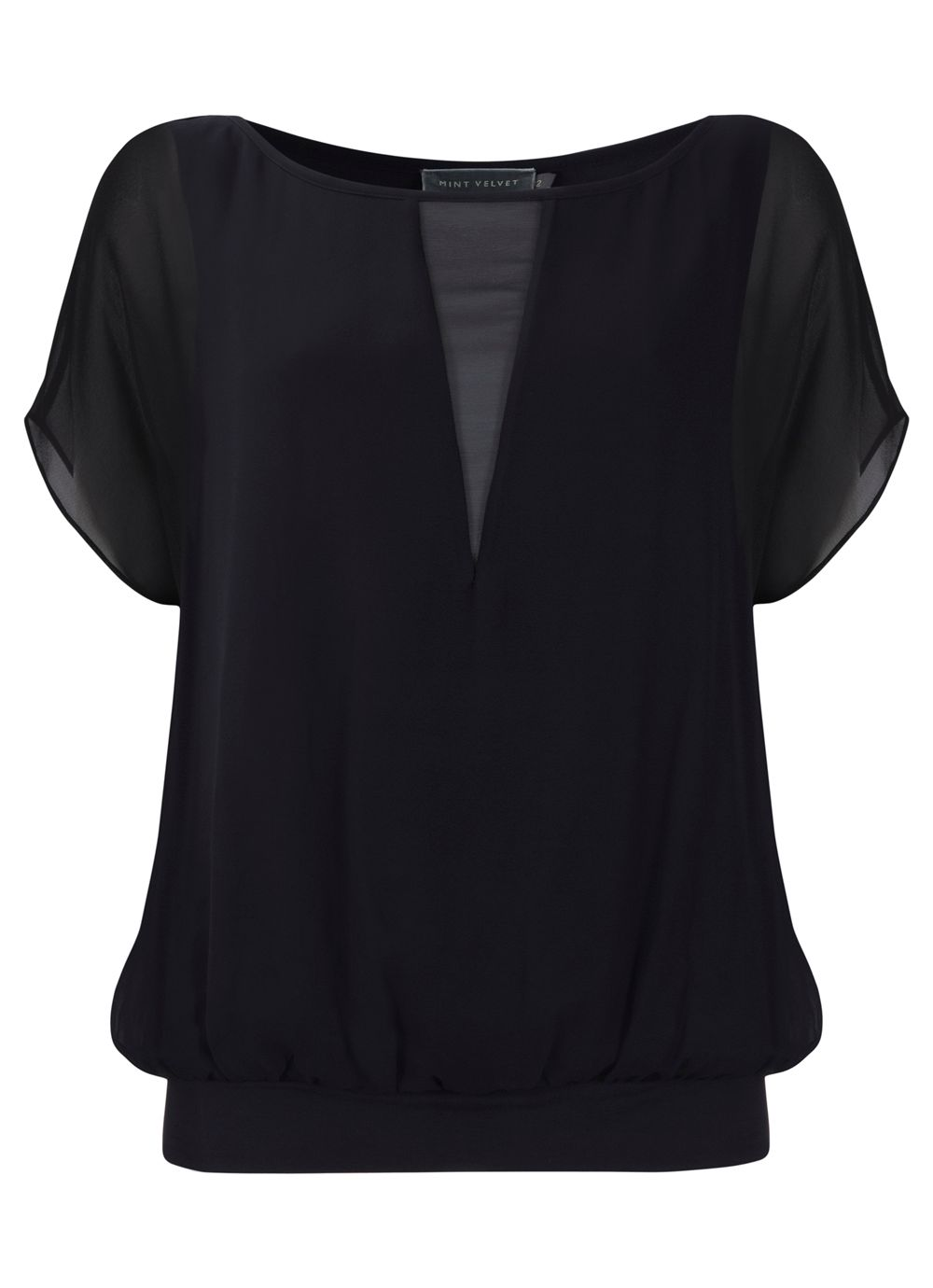 Navy sheer v blouson top