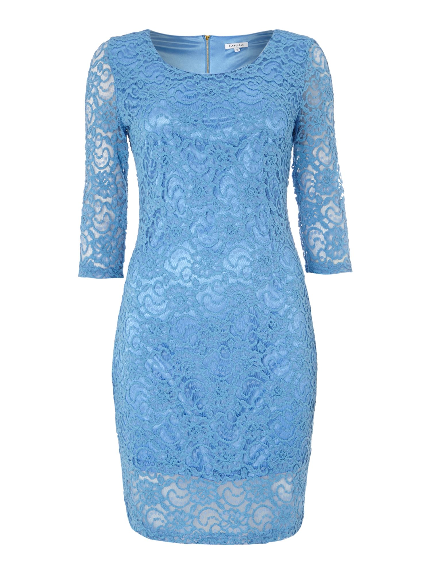 3/4 sleeved lace midi dress