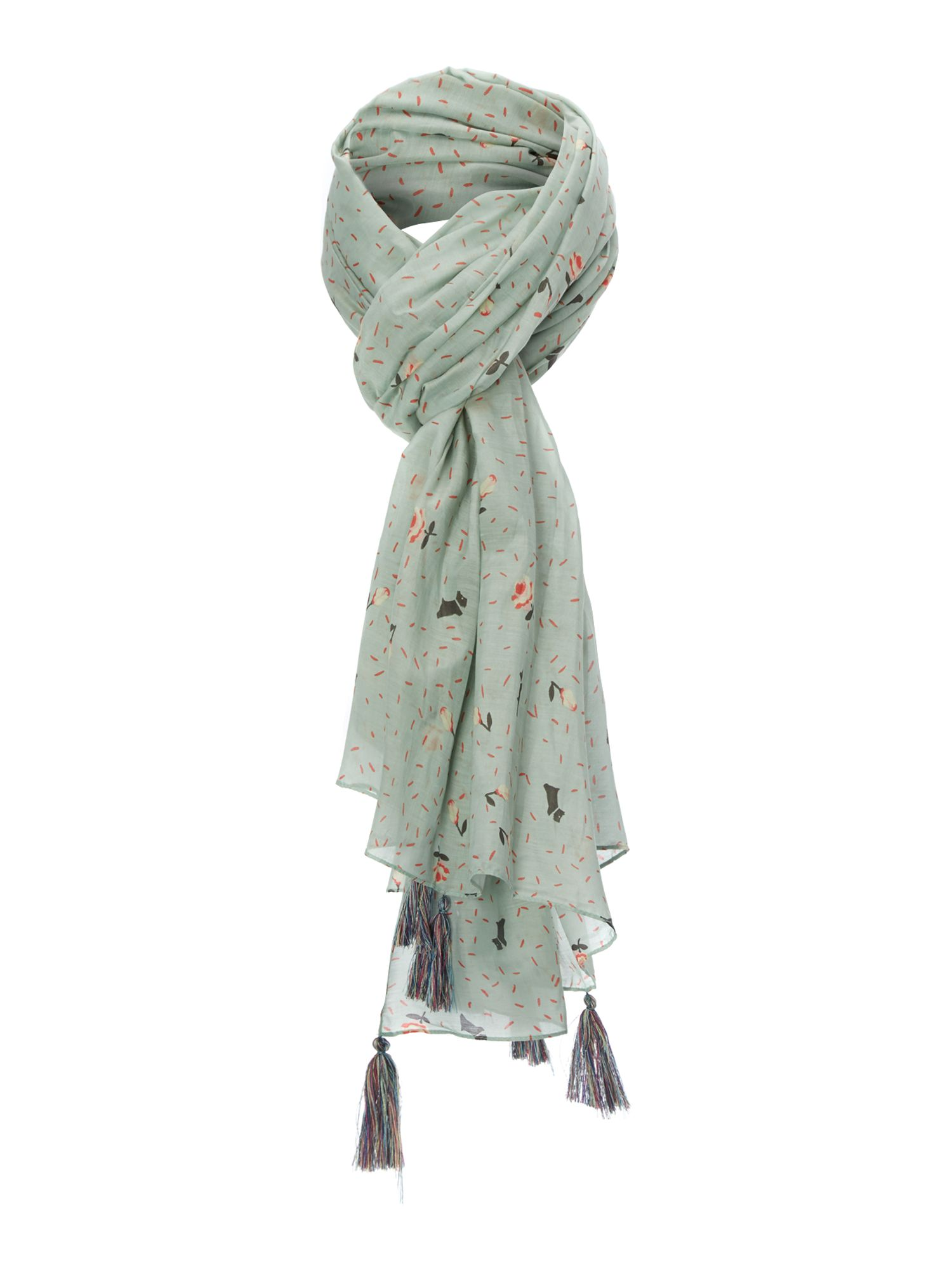 Emerson ditsy silk blend printed long scarf