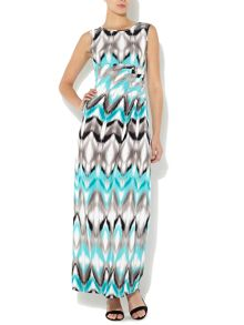 Aztec print side-tuck maxi dress