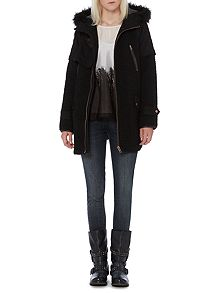 Black Fur Hood Coat - House of Fraser
