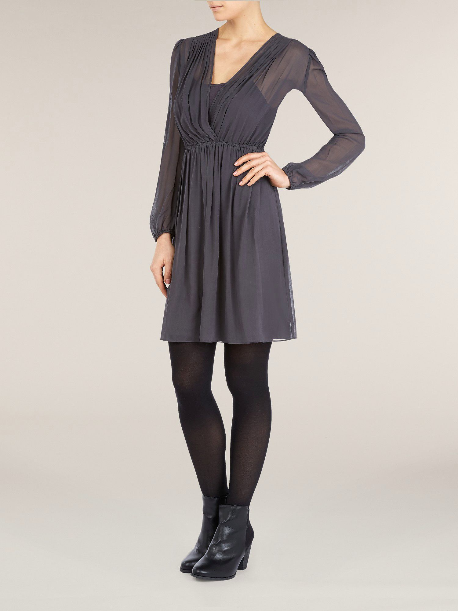 Silk shoulder tuck dress