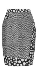 Spot and Chevron Print Skirt