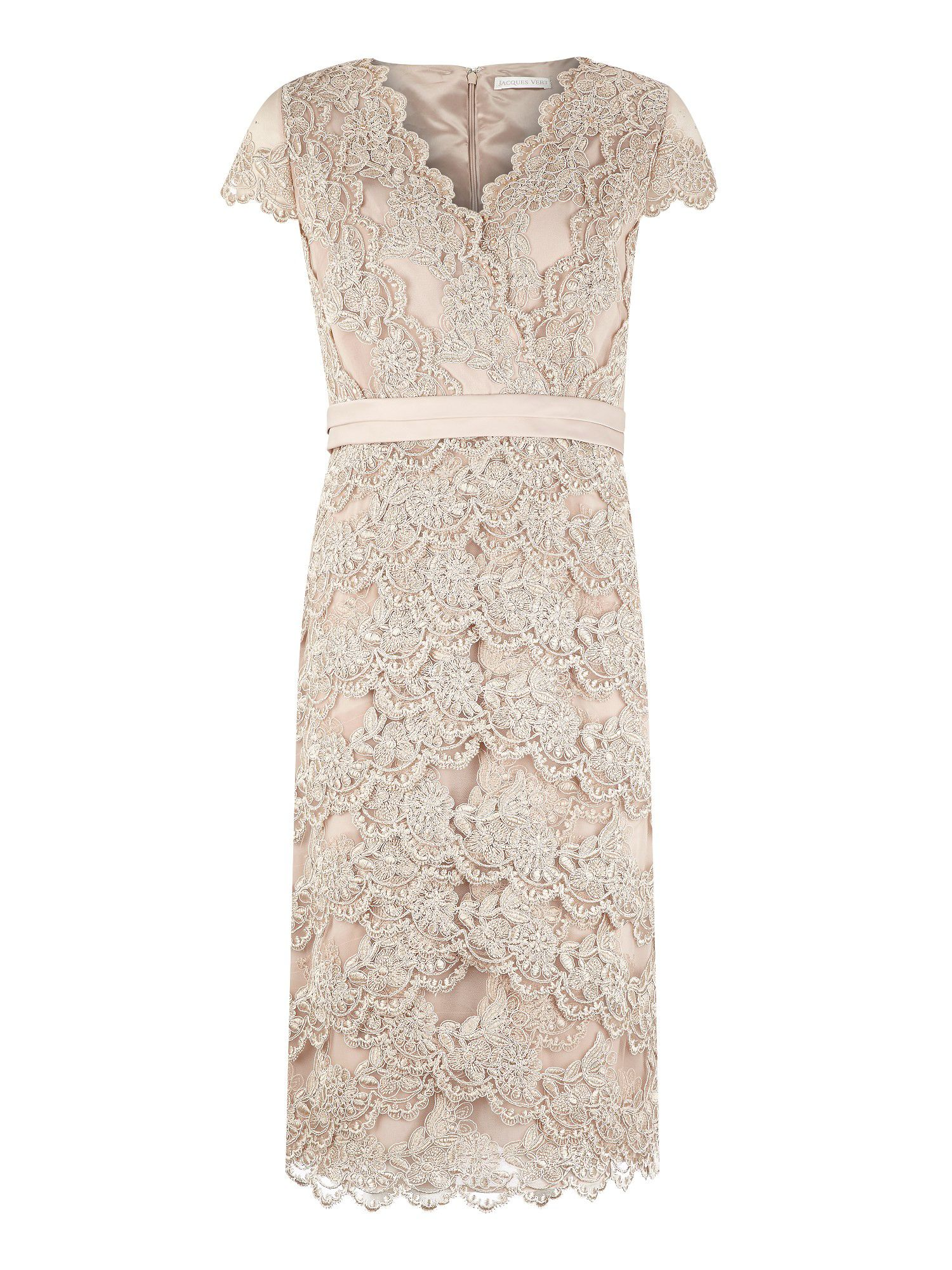 Champagne lace embellished dress