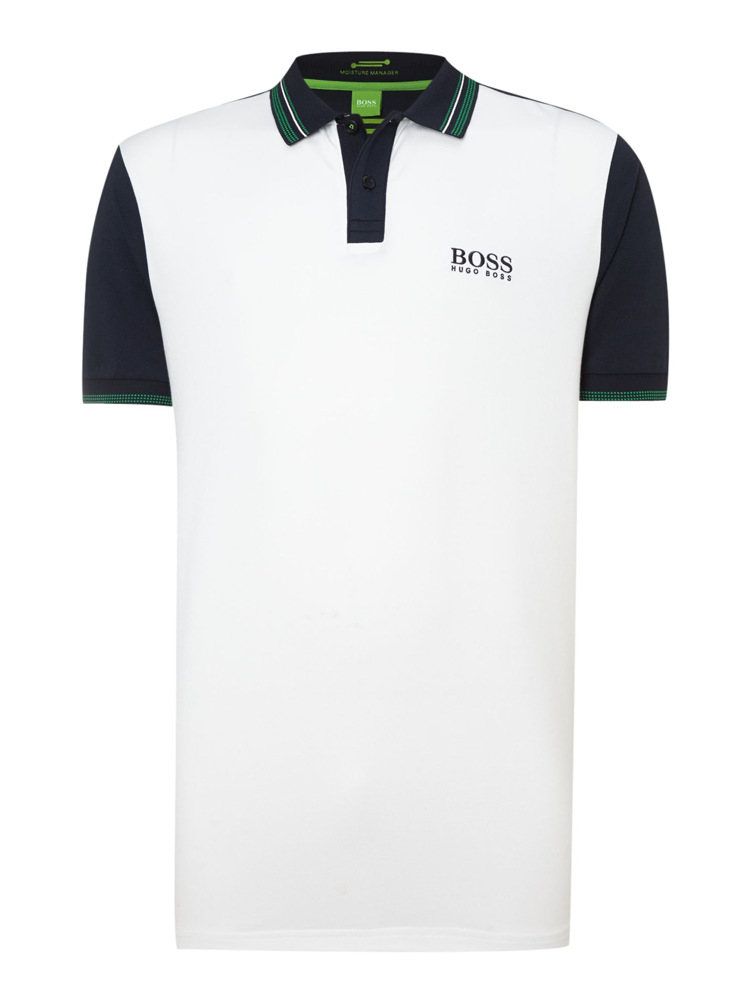 Men&39s Hugo Boss Golf polo with collar detail White