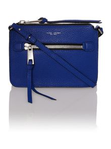 Blue leather small cross body bag