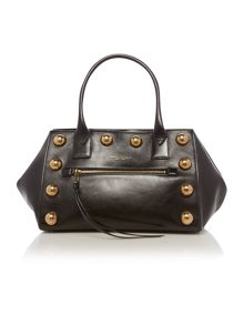Black leather eyelet hobo bag
