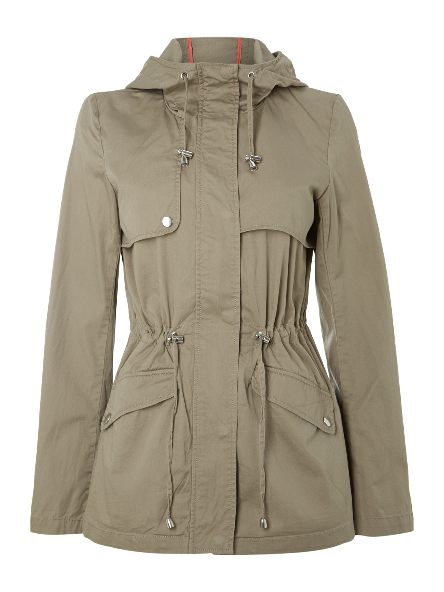 Hooded thin parka jacket