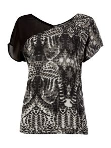 Mesh top shift dress