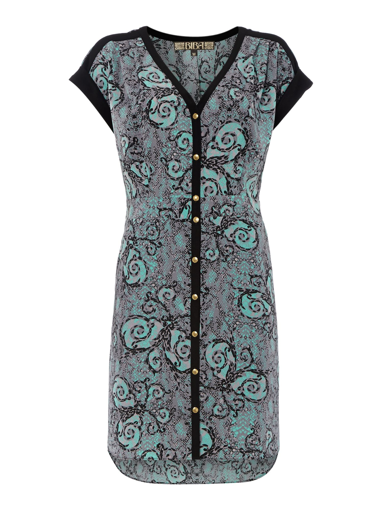 Paisley snake print shirt dress