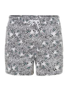 Leopard faces all over print swim short