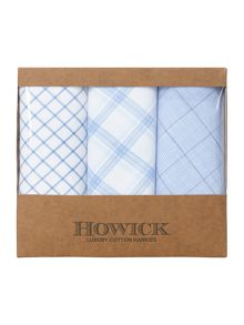 Howick Luxury cotton 3 pack blue hankies