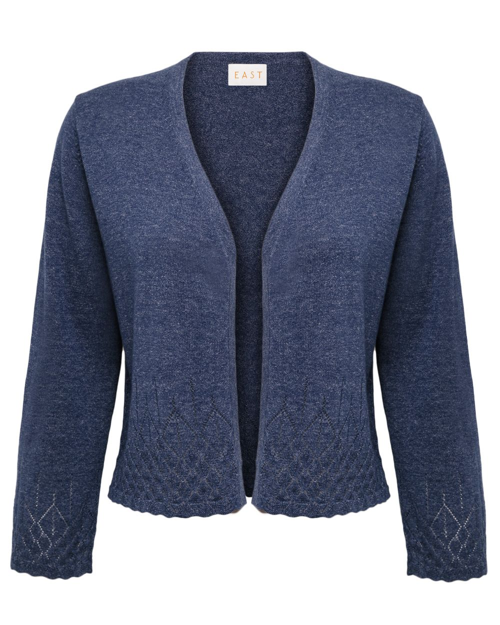 Denim pointelle cardigan