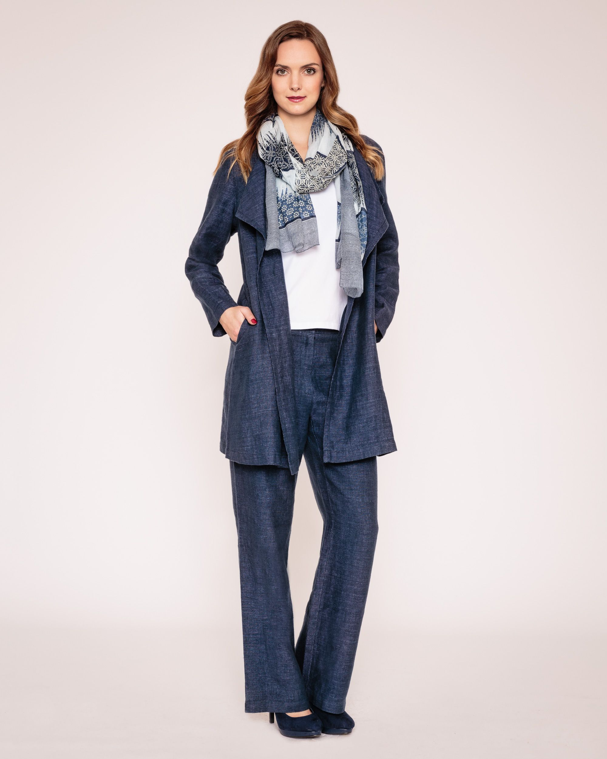 Delave linen waterfall coat