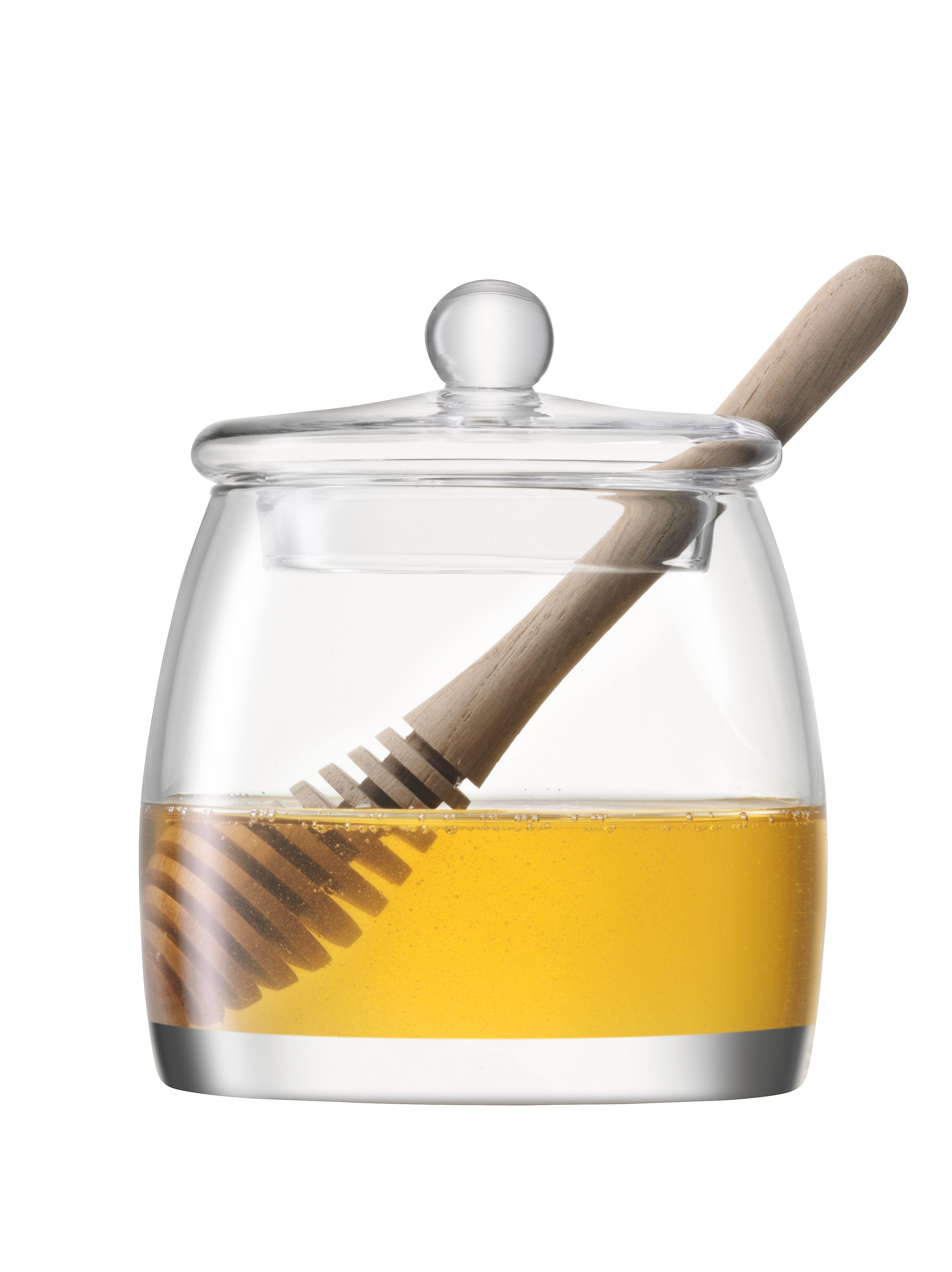 Serve Honey Pot & Oak Dipper H12.5cm Clear