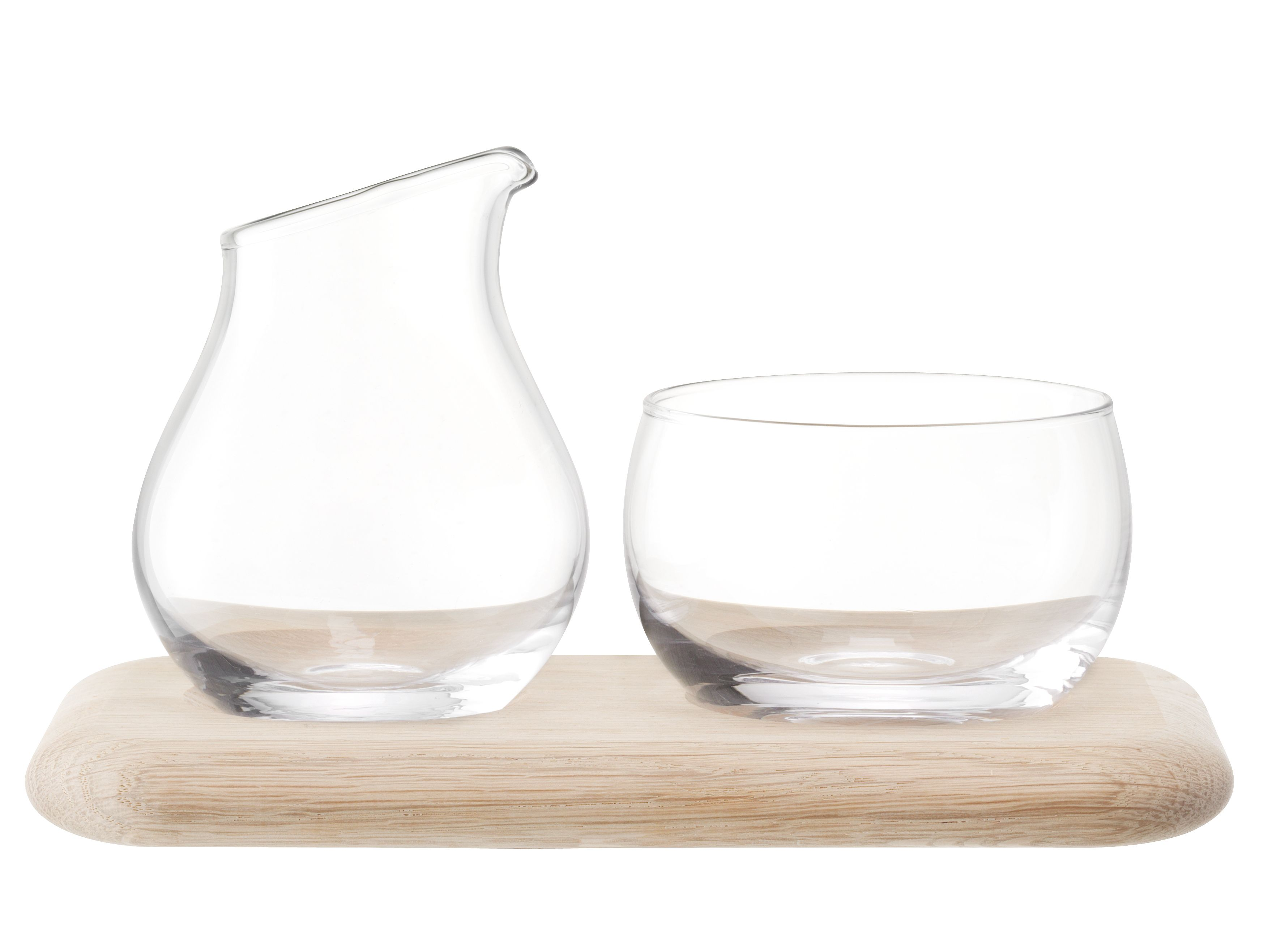 Serve Sugar/Cream Set & Oak Base L22.5cm