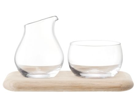 LSA Serve Sugar/Cream Set & Oak Base L22.5cm