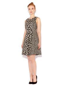 Monochrome leopard fit and flare dress