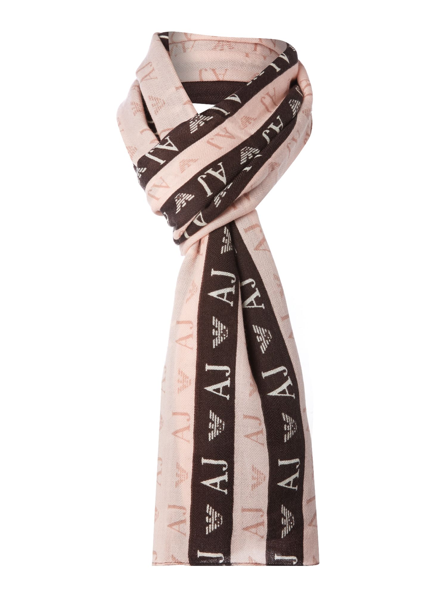 Printed logo wool long scarf
