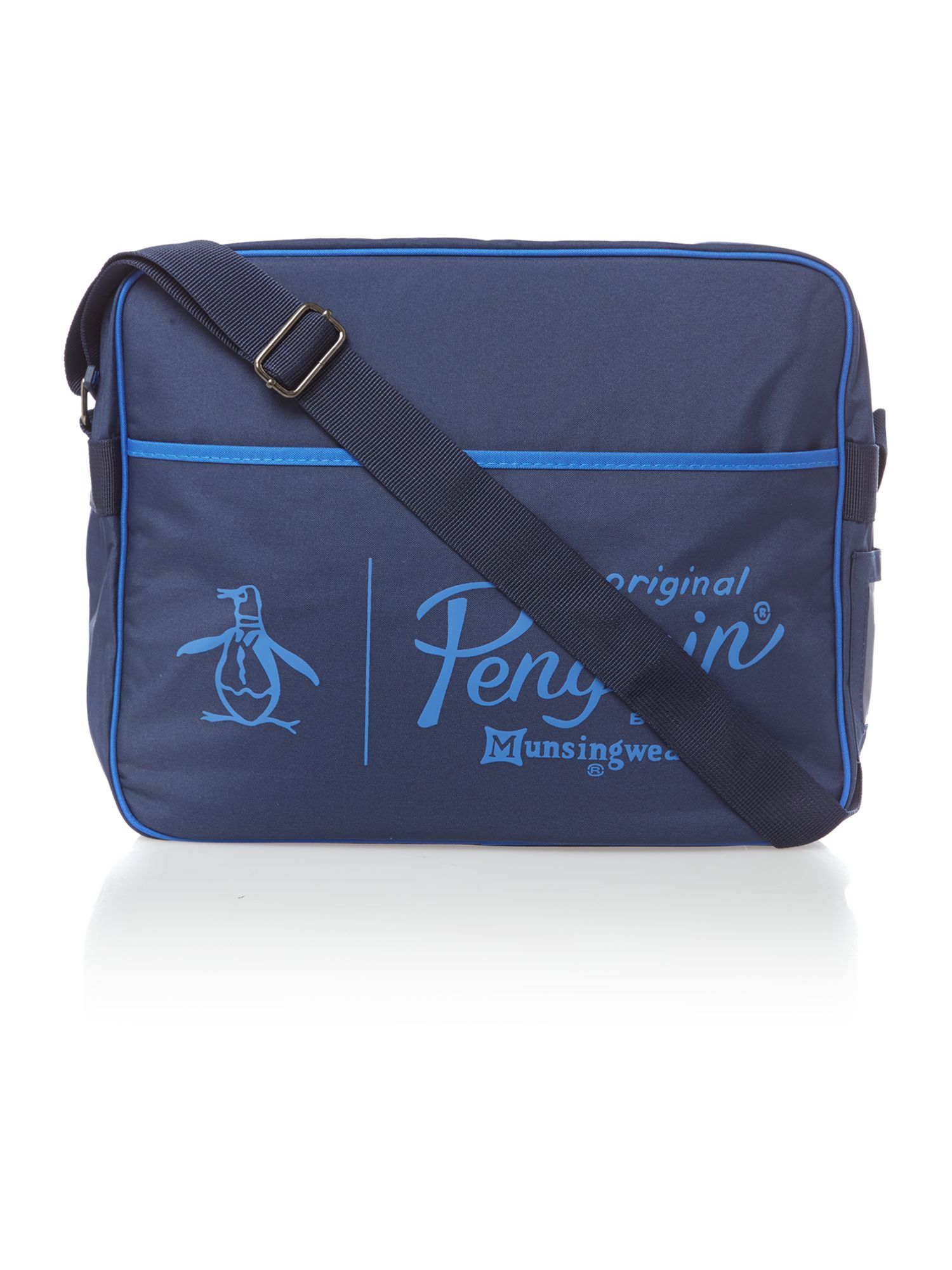 Logo zip messenger bag
