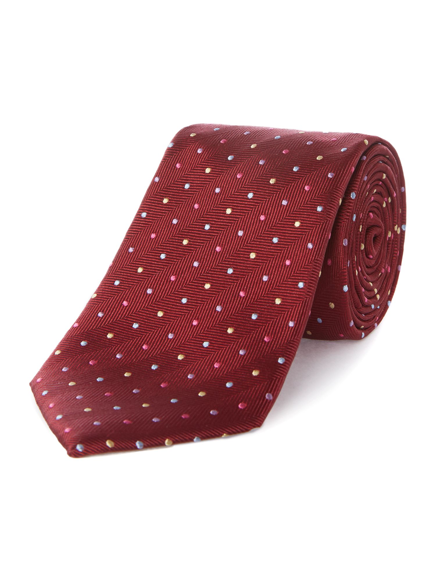 Dalderby herringbone silk tie with spots